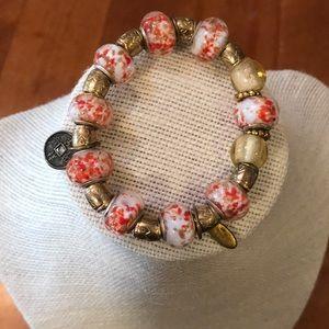 Unique glass bead charm bracelet